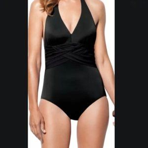 NWOT Spanx Woven Halter One Piece Swimsuit Black